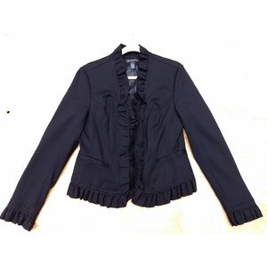 I.N.C. black ruffled long sleeve zipper blazer lg